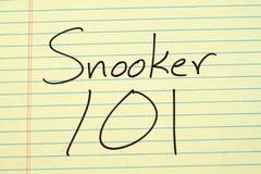Snooker 101 auf einem gelben Kanzleibogenblock Lizenzfreie Stockfotografie