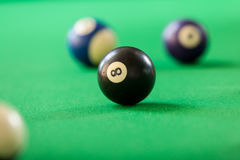 Snooker ball on billiard table. Billiard cue balls on green table. Pool game Royalty Free Stock Photos