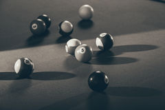 Snooker ball on billiard table. Billiard cue balls on green table. Pool game Stock Image