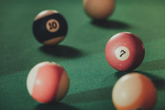 Snooker ball on billiard table. Billiard cue balls on green table. Pool game Stock Photography