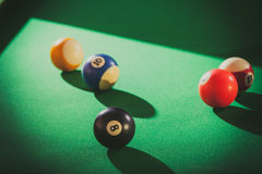 Snooker ball on billiard table. Billiard cue balls on green table. Pool game Royalty Free Stock Photo