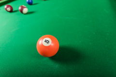 Snooker ball on billiard table. Billiard cue balls on green table. Pool game Royalty Free Stock Image