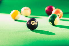 Snooker ball on billiard table. Billiard cue balls on green table. Pool game Stock Photos