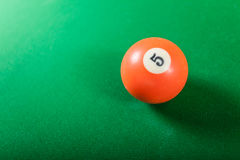 Snooker ball on billiard table. Billiard cue ball on green table. Pool game Royalty Free Stock Photos