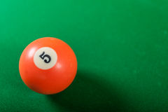 Snooker ball on billiard table. Billiard cue ball on green table. Pool game Royalty Free Stock Photo