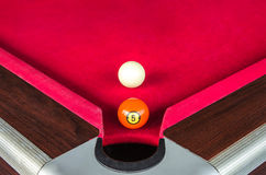 snooker ball five number or pool ball five number near the corner hole Stock Photo