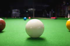 Snooker ball on green surface table Royalty Free Stock Photography
