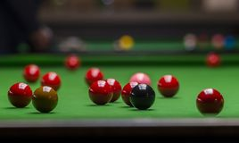 Snooker ball on the green snooker table at snooker club.  stock photography