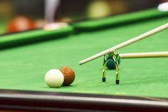 Snooker ball and rest stick Royalty Free Stock Images