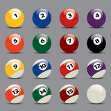 Snooker Ball Set. Colorful Snooker Ball Set Vector Drawing Stock Images