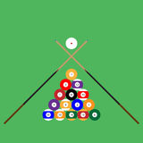 Snooker ball set of objects cue vector illustration