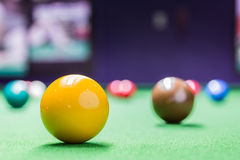 Snooker ball on snooker table Royalty Free Stock Photography