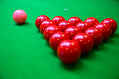 Snooker ball on snooker table, Snooker or Pool game on green table, International sport Royalty Free Stock Photos