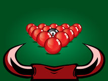 Snooker ball on table. Illustration of bull and snooker table ready for smash Stock Images