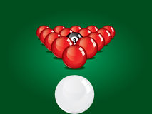 Snooker ball on table. Illustration of snooker table ready for smash Stock Photo