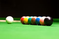Snooker Balls. With cue ball and colours Royalty Free Stock Photos