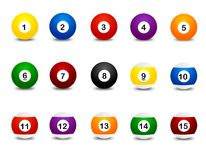 Snooker balls. Collection of colorful snooker balls isolated on white background Royalty Free Stock Image
