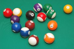 Snooker balls. Snooker colorfull balls on the table Royalty Free Stock Photos