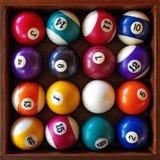Snooker Balls. Top view of a full set of snooker balls inside an old wooden box stock photos