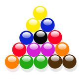 The snooker balls. Snooker balls in different colors like red etc Stock Image