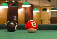 Snooker balls. In a green table royalty free stock image