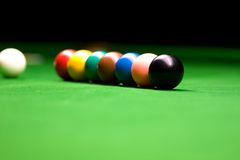 Snooker Balls Colors. Lined up on the table Stock Images