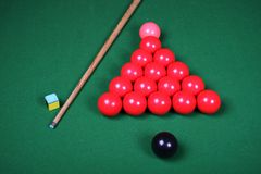 Snooker Balls and Cue Royalty Free Stock Images