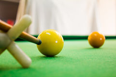 Snooker balls with cue Stock Images