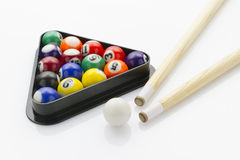 Snooker balls with cues Royalty Free Stock Photo