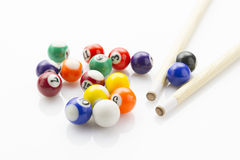 Snooker balls with cues Royalty Free Stock Image