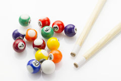 Snooker balls with cues Royalty Free Stock Photography