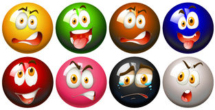 Snooker balls with faces Royalty Free Stock Photo