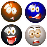 Snooker balls with facial expressions. Illustration Stock Photos