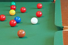 Snooker Balls Focus On White Cue Ball Royalty Free Stock Photos