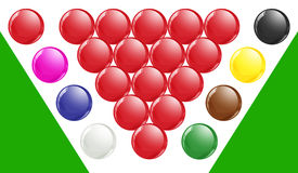 Snooker Balls With Green Base. Snooker balls with red balls in traditional triangle Royalty Free Stock Images