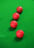 Snooker balls on green snooker table Royalty Free Stock Photography