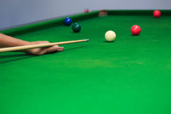 Snooker balls on green snooker table Stock Photography
