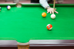 Snooker balls on green snooker table, sport game background Royalty Free Stock Image