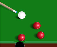 Snooker balls on green snooker table, sport game background Stock Photos