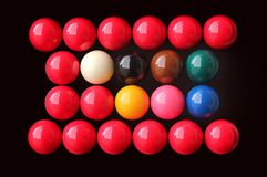 Snooker balls of many colors Stock Photos