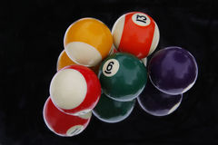 Snooker balls reflected in mirror on black background Royalty Free Stock Photos