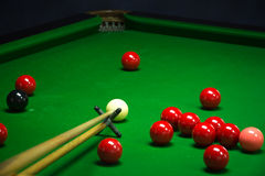 Snooker balls set. On a green table royalty free stock images