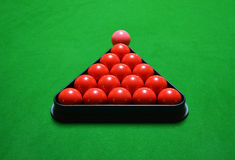 Snooker balls set on green table Royalty Free Stock Photo