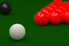 Snooker Balls on Snooker Table, 3D Rendering. 3D rendering of snooker ball on snooker table Royalty Free Stock Image