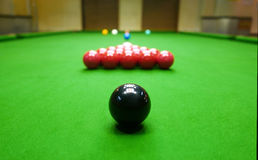 Snooker balls and table Stock Photo