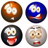 Snooker Balls With Facial Expressions Stock Photos