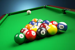 Snooker billiard pyramid on green table. Stock Images