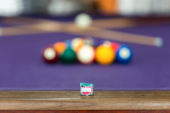 Snooker billiard. Billiard table with balls arranged in a triangle Stock Photo