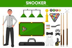 Snooker billiards sport equipment pool player garment accessory vector flat icons set. Snooker or billiards sport equipment and pool player accessories and vector illustration