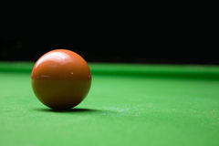 Snooker brown ball. On table close up Royalty Free Stock Photos